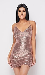 Image of short cowl-neck sequin x-back homecoming dress. Style: FG-HER-21-21435 Front Image