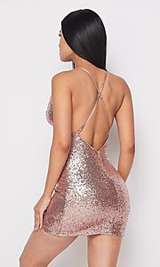 Image of short cowl-neck sequin x-back homecoming dress. Style: FG-HER-21-21435 Back Image