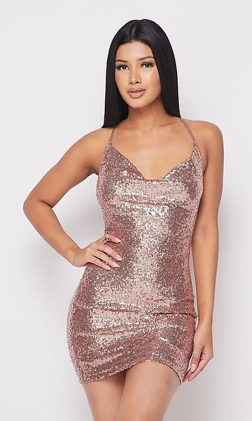 Image of short cowl-neck sequin x-back homecoming dress. Style: FG-HER-21-21435 Detail Image 1