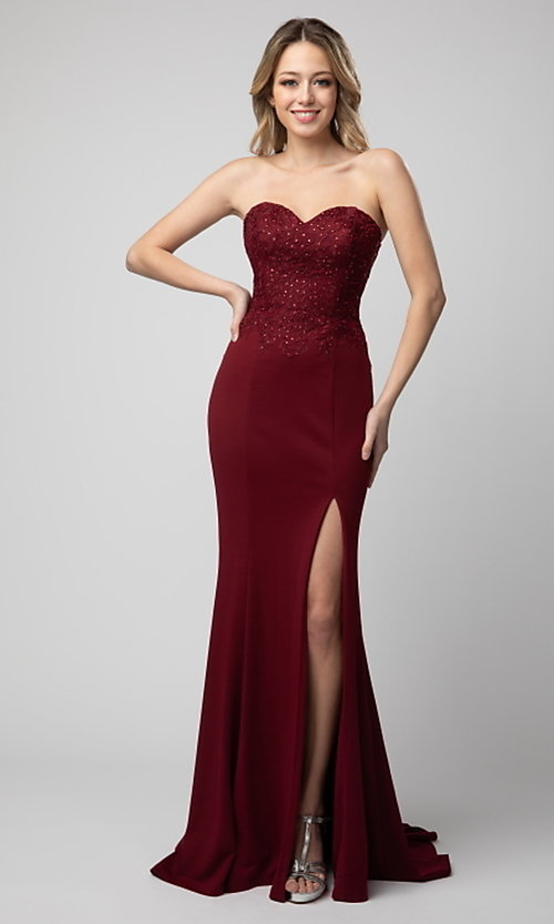 Image of long strapless sweetheart formal dress by Shail K. Style: SK-21-930 Front Image