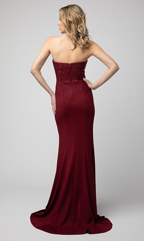 Image of long strapless sweetheart formal dress by Shail K. Style: SK-21-930 Back Image