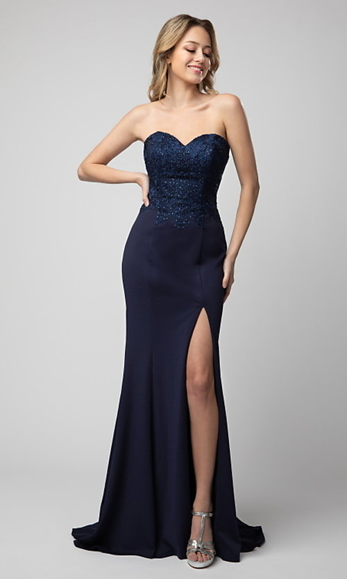 Image of long strapless sweetheart formal dress by Shail K. Style: SK-21-930 Detail Image 1