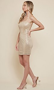 Image of strappy-back sequin short homecoming dress. Style: FG-MAN-21-MF2815 Detail Image 3