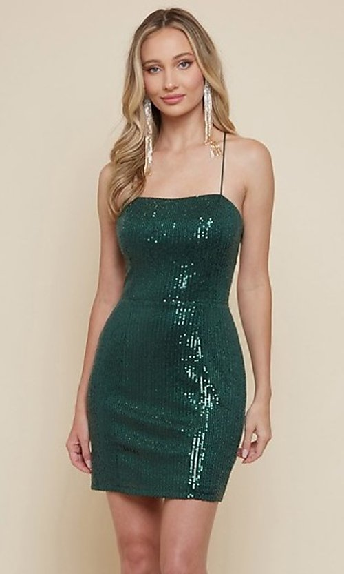 Image of strappy-back sequin short homecoming dress. Style: FG-MAN-21-MF2815 Front Image