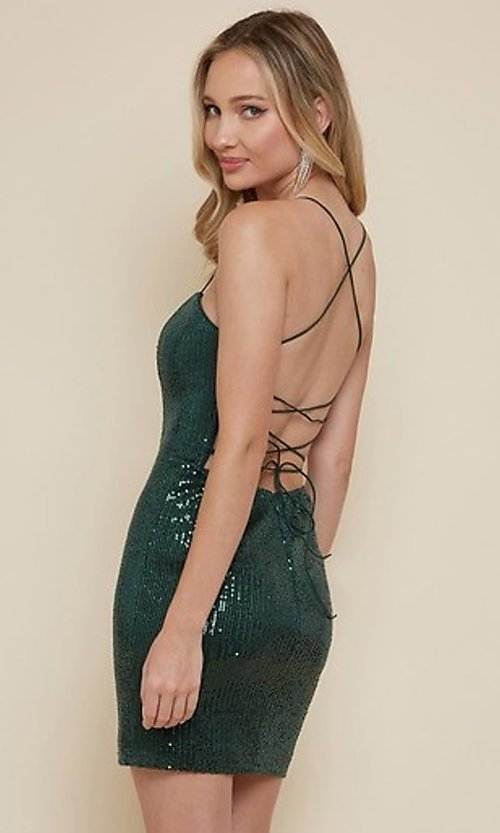 Image of strappy-back sequin short homecoming dress. Style: FG-MAN-21-MF2815 Back Image