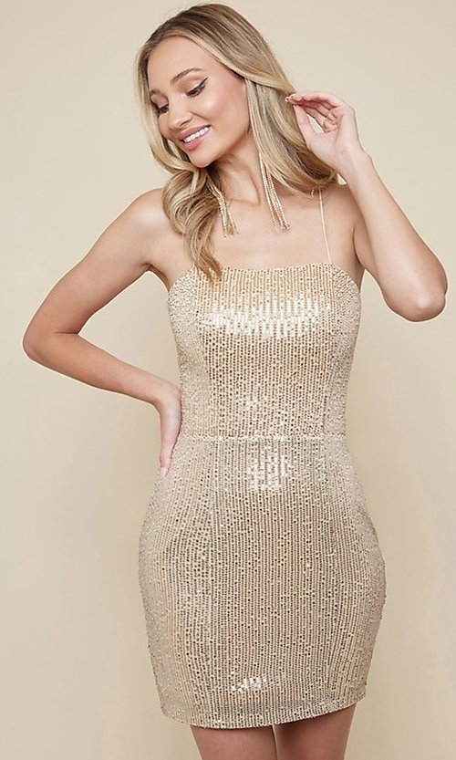 Image of strappy-back sequin short homecoming dress. Style: FG-MAN-21-MF2815 Detail Image 1