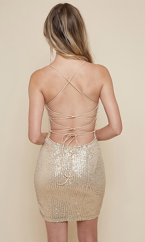 Image of strappy-back sequin short homecoming dress. Style: FG-MAN-21-MF2815 Detail Image 2