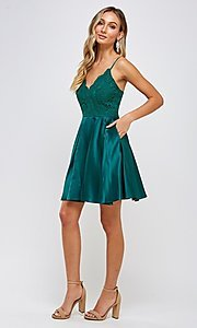 Image of lace-bodice short emerald green homecoming dress. Style: FG-MAN-21-MF2217 Detail Image 2