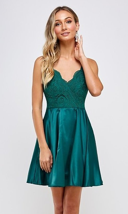Image of lace-bodice short emerald green homecoming dress. Style: FG-MAN-21-MF2217 Front Image