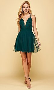 Image of emerald green short homecoming dance dress. Style: FG-MAN-21-MM2850 Detail Image 1