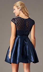 Image of a-line illusion-bodice short homecoming dress. Style: FG-MAN-21-MF24748 Detail Image 2