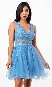 Image of short embroidered formal homecoming dance dress. Style: LAS-LSC-21-25981 Detail Image 1