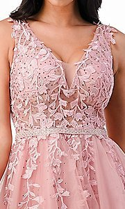 Image of short embroidered formal homecoming dance dress. Style: LAS-LSC-21-25981 Detail Image 4