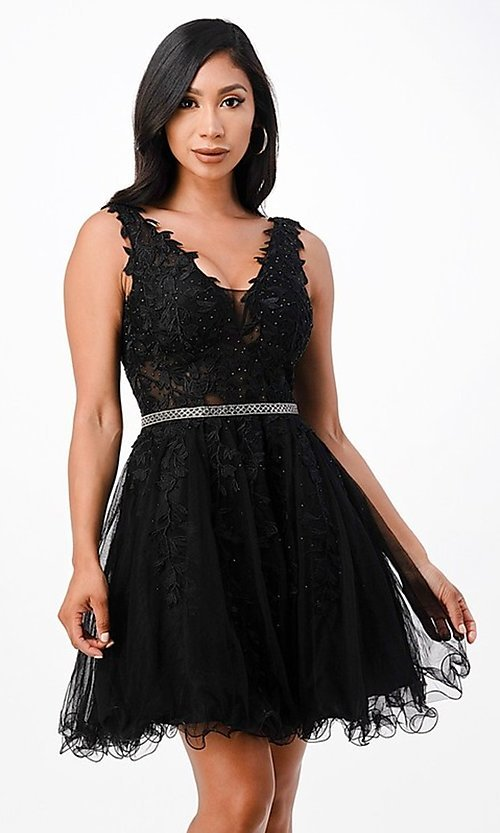 Image of short embroidered formal homecoming dance dress. Style: LAS-LSC-21-25981 Detail Image 2