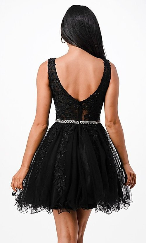 Image of short embroidered formal homecoming dance dress. Style: LAS-LSC-21-25981 Detail Image 3