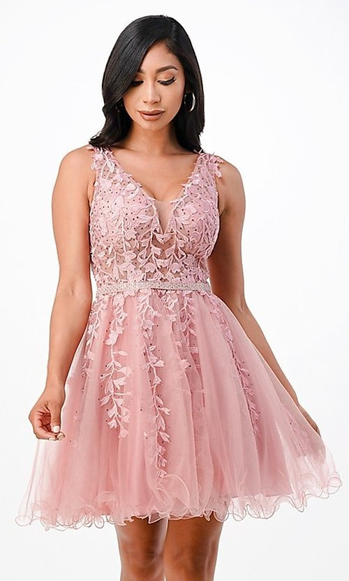 Image of short embroidered formal homecoming dance dress. Style: LAS-LSC-21-25981 Front Image