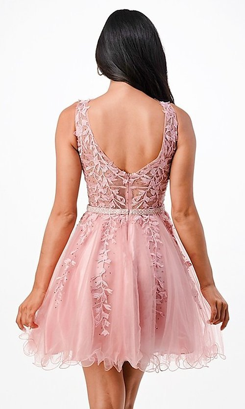 Image of short embroidered formal homecoming dance dress. Style: LAS-LSC-21-25981 Back Image