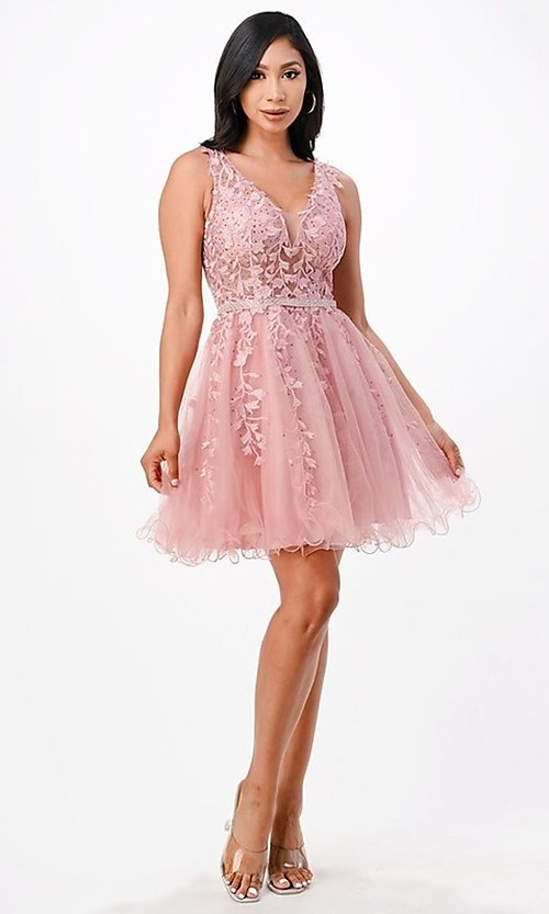 Image of short embroidered formal homecoming dance dress. Style: LAS-LSC-21-25981 Detail Image 5
