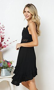 Image of casual knee-length lace-bodice party dress. Style: FG-BLB-21-30141D Detail Image 2