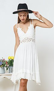 Image of casual knee-length lace-bodice party dress. Style: FG-BLB-21-30141D Detail Image 4