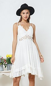 Image of casual knee-length lace-bodice party dress. Style: FG-BLB-21-30141D Detail Image 5