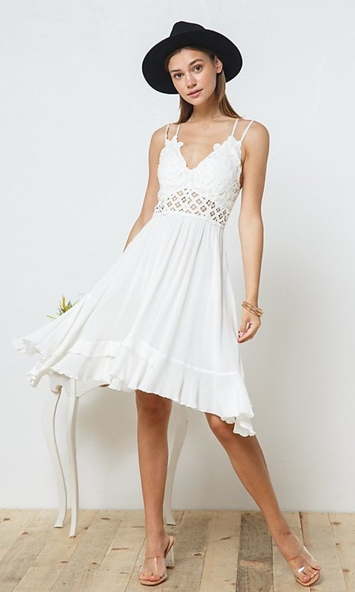 Image of casual knee-length lace-bodice party dress. Style: FG-BLB-21-30141D Detail Image 3