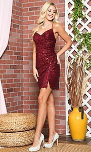 Image of wrap-style sequin short sparkly homecoming dress. Style: FG-BAF-21-BZ002S Detail Image 3