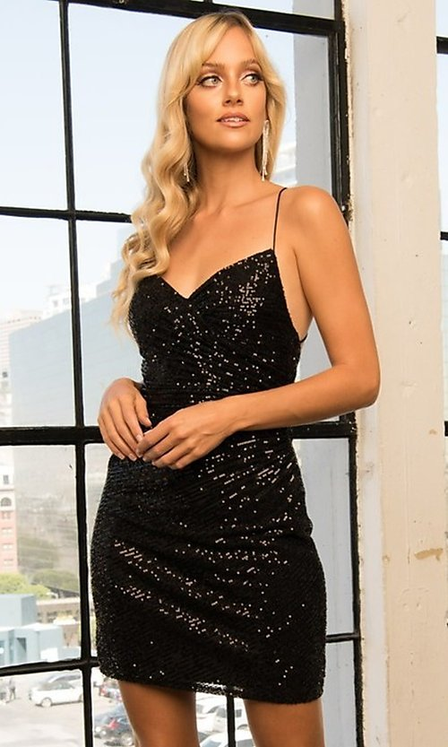 Image of wrap-style sequin short sparkly homecoming dress. Style: FG-BAF-21-BZ002S Detail Image 1