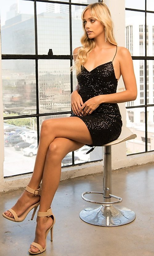 Image of wrap-style sequin short sparkly homecoming dress. Style: FG-BAF-21-BZ002S Detail Image 4