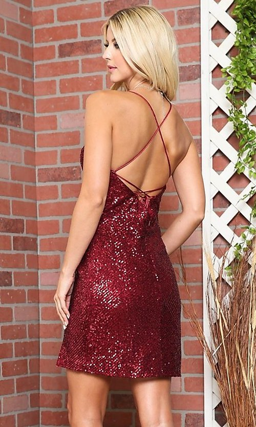Image of wrap-style sequin short sparkly homecoming dress. Style: FG-BAF-21-BZ002S Back Image
