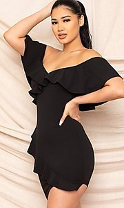 Image of off-the-shoulder tight short homecoming dress. Style: LAS-SY-21-ID8038APR Detail Image 1