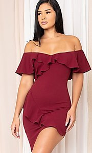 Image of off-the-shoulder tight short homecoming dress. Style: LAS-SY-21-ID8038APR Front Image