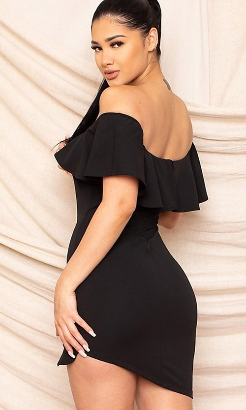Image of off-the-shoulder tight short homecoming dress. Style: LAS-SY-21-ID8038APR Detail Image 2