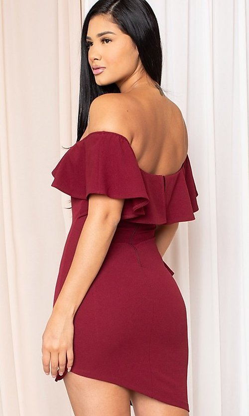 Image of off-the-shoulder tight short homecoming dress. Style: LAS-SY-21-ID8038APR Back Image