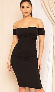 Image of off-the-shoulder semi-formal tight midi dress. Style: LAS-SY-21-ID8029SPR Detail Image 1