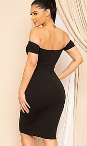 Image of off-the-shoulder semi-formal tight midi dress. Style: LAS-SY-21-ID8029SPR Detail Image 2
