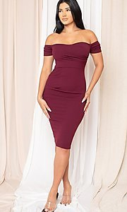 Image of off-the-shoulder semi-formal tight midi dress. Style: LAS-SY-21-ID8029SPR Detail Image 4