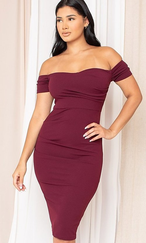 Image of off-the-shoulder semi-formal tight midi dress. Style: LAS-SY-21-ID8029SPR Front Image