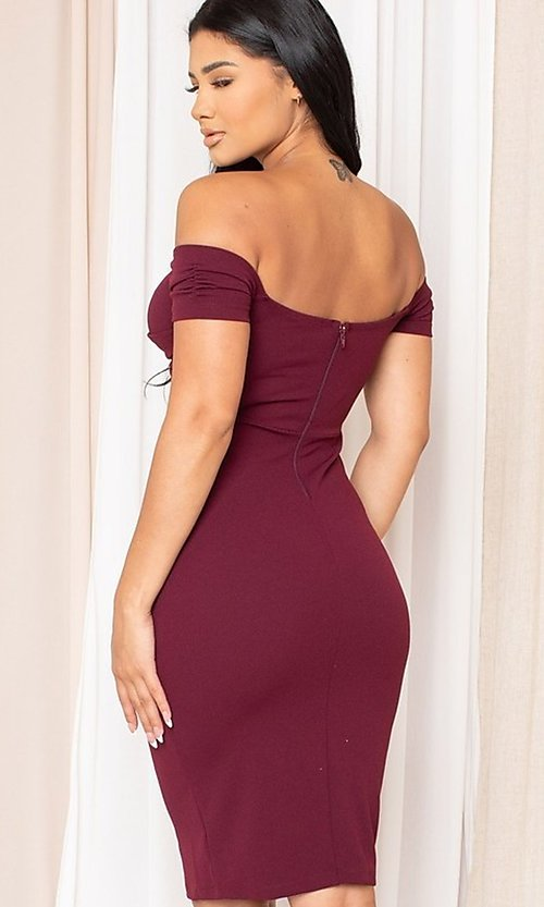 Image of off-the-shoulder semi-formal tight midi dress. Style: LAS-SY-21-ID8029SPR Back Image