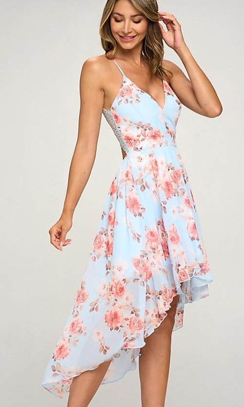 Image of floral print chiffon a-line high-low party dress. Style: LAS-LOV-21-MD1815F Front Image