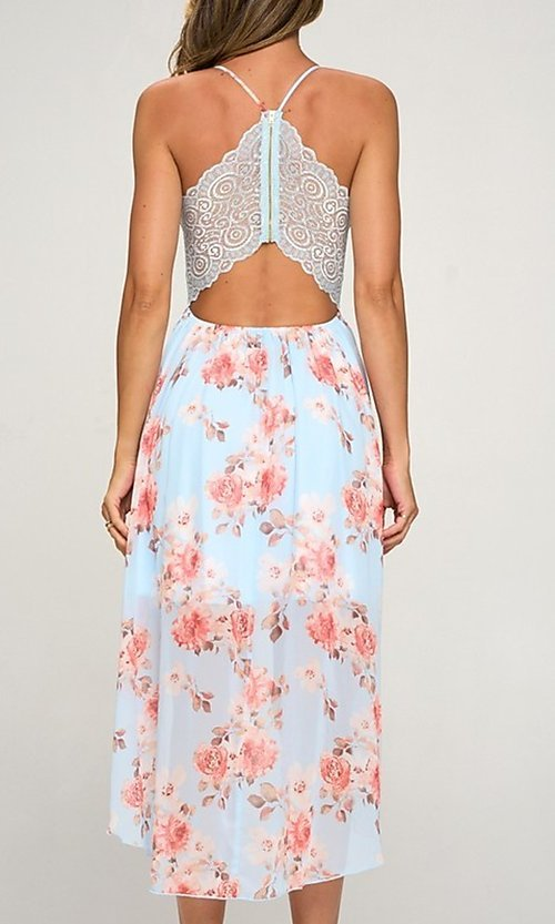 Image of floral print chiffon a-line high-low party dress. Style: LAS-LOV-21-MD1815F Back Image