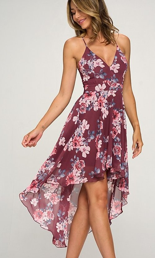 Image of floral print chiffon a-line high-low party dress. Style: LAS-LOV-21-MD1815F Detail Image 1