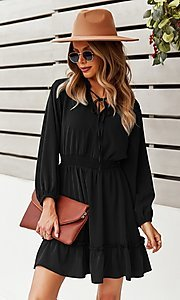 Image of short long sleeve casual party dress with neck tie. Style: FG-SFN-21-DAFD3254117 Detail Image 1