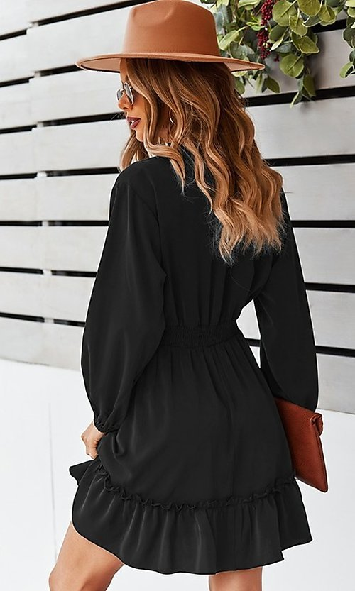 Image of short long sleeve casual party dress with neck tie. Style: FG-SFN-21-DAFD3254117 Detail Image 2