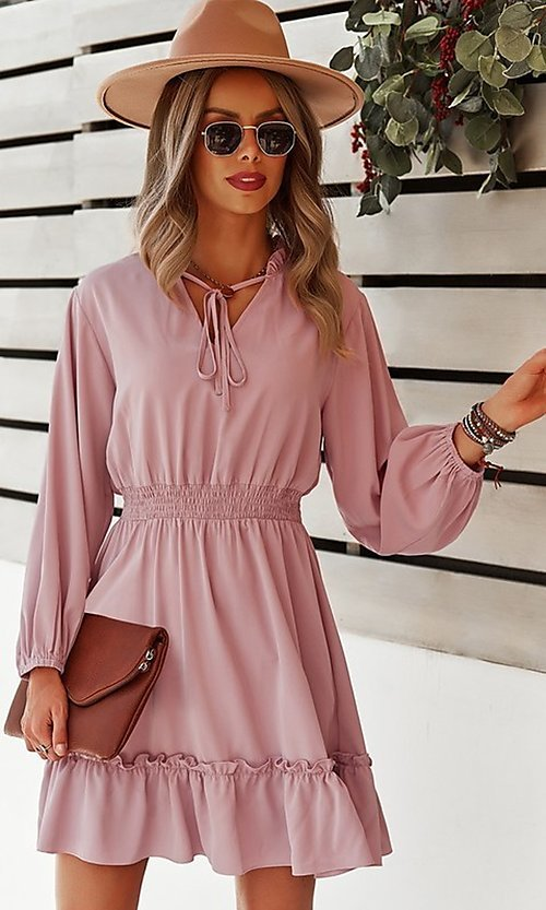 Image of short long sleeve casual party dress with neck tie. Style: FG-SFN-21-DAFD3254117 Front Image