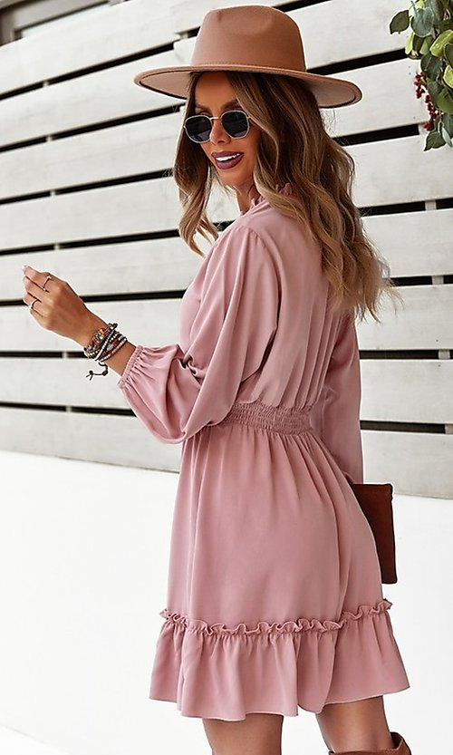 Image of short long sleeve casual party dress with neck tie. Style: FG-SFN-21-DAFD3254117 Back Image