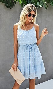 Image of Swiss dot spaghetti strap short casual party dress. Style: FG-SFN-21-LQ323S6199 Detail Image 1