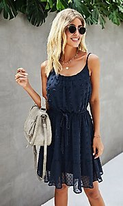 Image of Swiss dot spaghetti strap short casual party dress. Style: FG-SFN-21-LQ323S6199 Detail Image 3