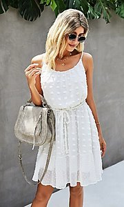 Image of Swiss dot spaghetti strap short casual party dress. Style: FG-SFN-21-LQ323S6199 Front Image
