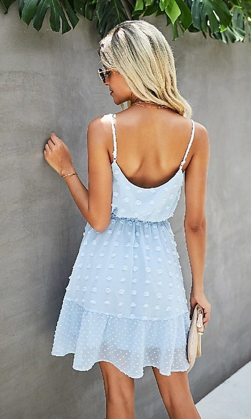 Image of Swiss dot spaghetti strap short casual party dress. Style: FG-SFN-21-LQ323S6199 Detail Image 2